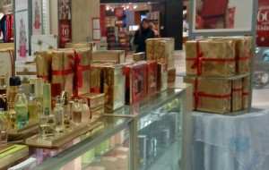 perfume and cosmetics counter decorated for Christmas