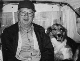 George Anger and Jamie dog 1991 photo d stewart