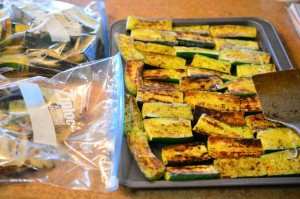 Grilled Zucchini ready for freezer