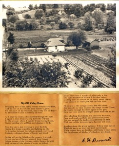 My Old Valley Home, poem by C. H. Burwell, and photograph