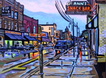 Ann's Snack Bar, painting by Clark McDougall