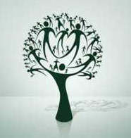 graphic of tree made of human figures - genealogy