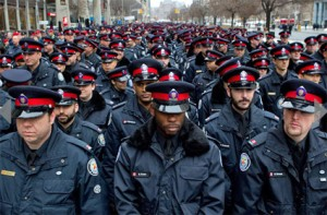 Police in Sgt. Ryan's funeral procession, from CTV website