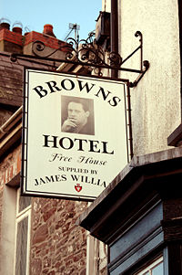 sign at Browns Hotel, Laugharne, Wales