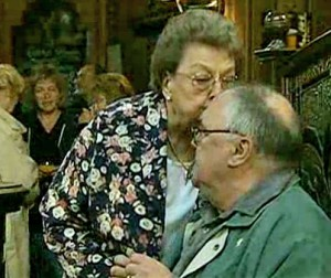Betty gives Jack a free pint and a kiss on the head