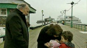 George & Eve with Simon on Blackpool pier