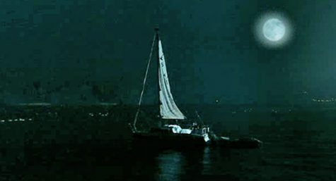 GailForce sailboat at night on lake