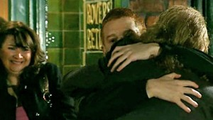 Gary hugs his dad goodbye outside the Rovers