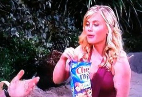 product placement on DOOL with Sammi opening Chex Mix bag