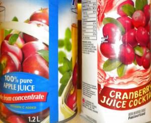 apple juice & cranberry juice