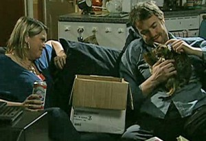 kitten with Trev and Janice in flat