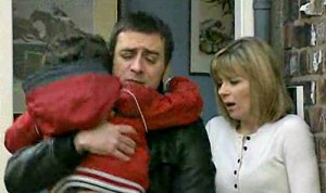 Simon in Peter's arms, Leanne relieved