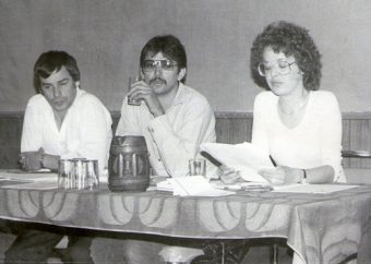 Calvin White, Roger John, me with research paper FNI AGM abt 1983