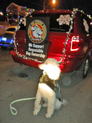 Leo and STDOA van in Santa Claus parade lineup