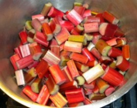 rhubarb pieces in pot ready to cook