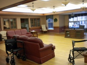 empty tv room in nursing home at dinner time