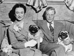 Edward VIII, Duke & Duchess of Windsor, at home with pugs