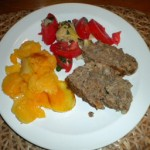 Meatloaf, potatoes au gratin, tomato & artichoke salad