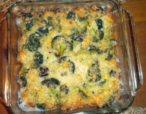 mushroom & broccoli quiche, in casserole dish