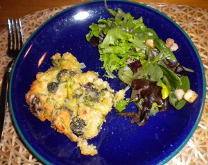 biscuit quiche with salad
