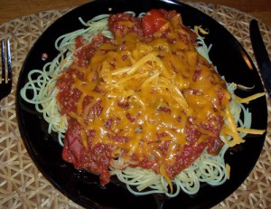 TVP tomato sauce with grated cheese