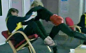 Becky tackles Tracey
