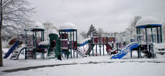 Playground in snow, Pinafore Park, St. Thomas
