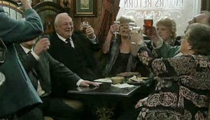 Blanche's old friends in Rovers, toasting her