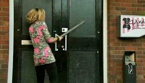 Becky bashes door of Underworld