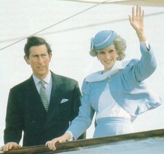 Royal couple on Britannia deck - Charles and Diana