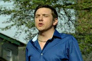 Stayin' alive - Graeme strutting in blue satin shirt