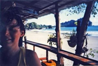 me and parrot at beach bar Manuel Antonio