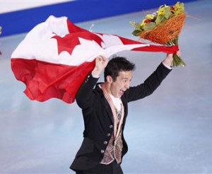Patrick Chan, doing victory lap at Worlds