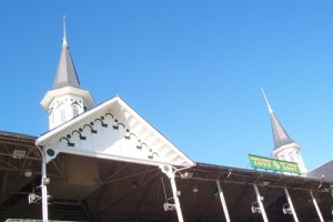 looking up at twin spires from seating area