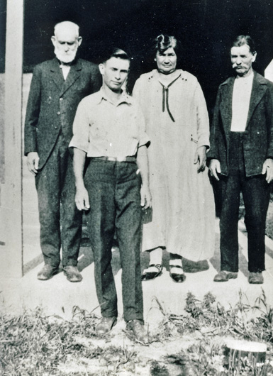 Clarence Mabee, wife Emma Jane, son and father-in-law