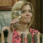 Leanne, in Rovers, toasts baby