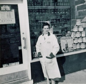 Mom at service station window