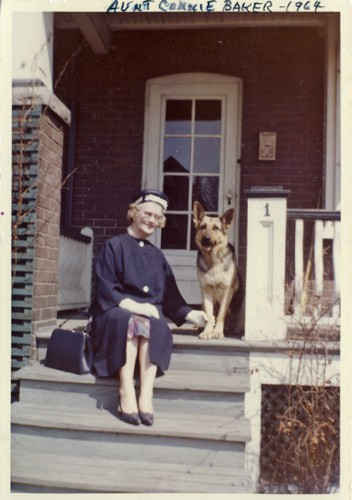 Connie Lymburner Baker, at home in Toronto with neighbour dog Throya, 1964