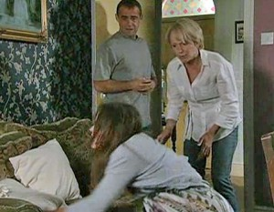 Molly about to give birth, Kevin and Sally there