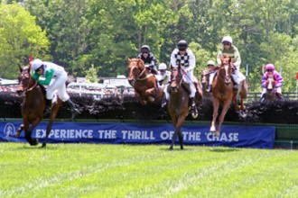 Horses jumping fence in steeplechase