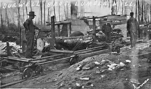 postcard photo of Burwell Bros lumber mill Tillsonburg