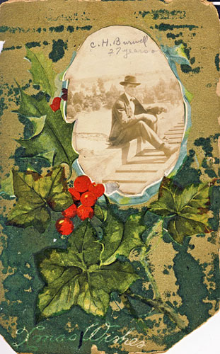 Christmas postcard 1907 with inset photo of C H Burwell