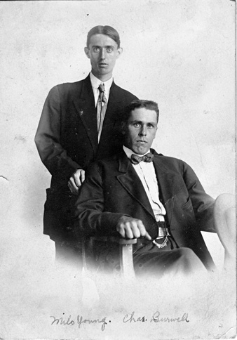 studio photo of charles burwell and friend milo young