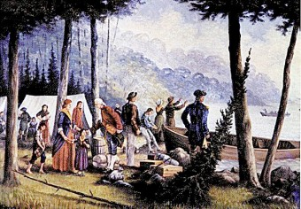 Painting of Loyalists landing, Bay of Quinte