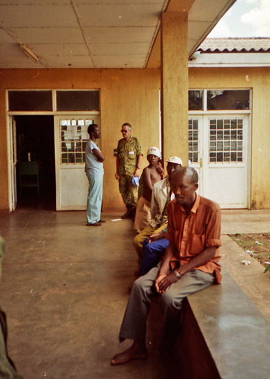 Patients, doctor and soldier in hospital, Kibungu