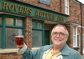 Bill Tarmey, outside Rovers, upon retirement