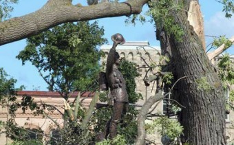 Statue standing by courthouse, Goderich, after tornado