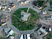 Aerial view of Goderich town square after tornado