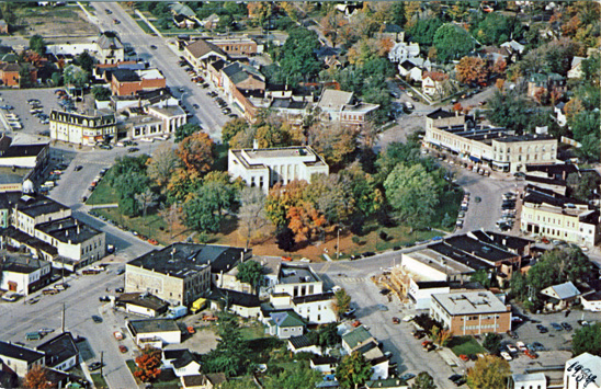 Aerial view of Goderich square, postcard 1984