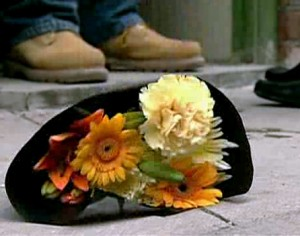 flowers dropped to street